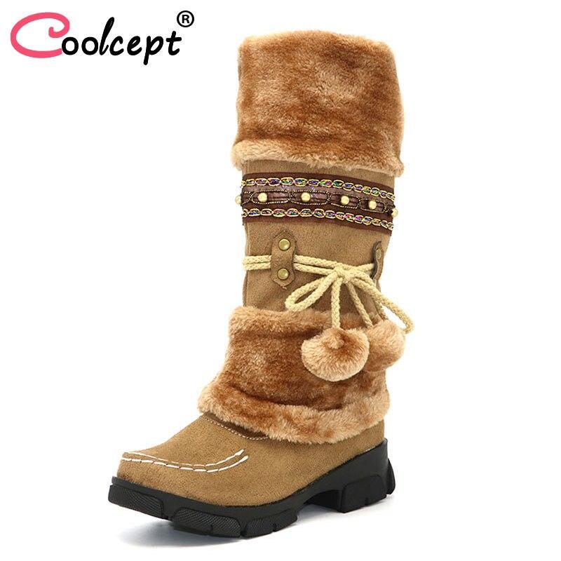 Coolcept Fashion Bohemia Snow Boots Woman High Heels Plush Fur Inside Warm Winter Shoes Women Platform Knee High Botas Size35-43 цены онлайн