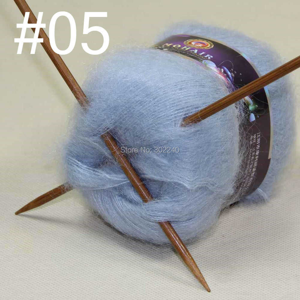 Lot Of 6 Balls MOHAIR 50% Angora Goats Cashmere 50% Silk Hand Yarn Knitting Sky Blue  #05