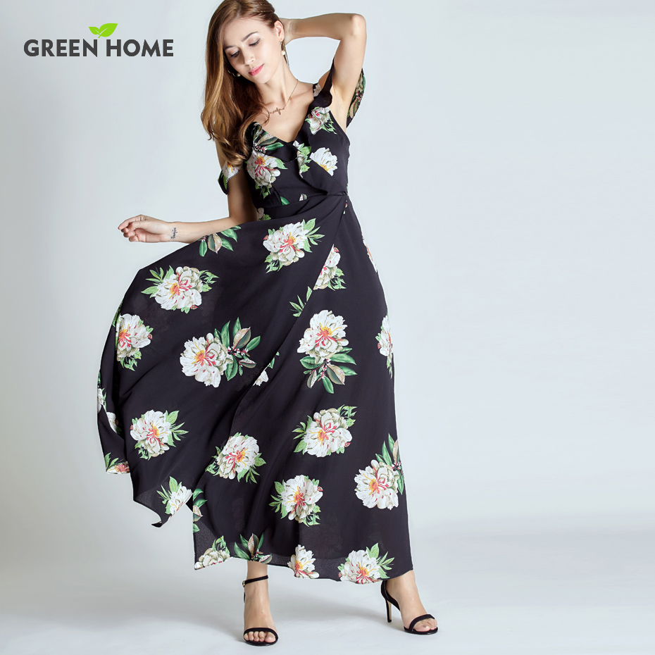 Green Home Floral Chiffon Nursing Long Dress Sleevless ...