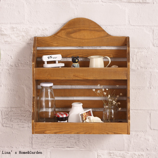 Woodworking Plans For Kitchen Spice Rack: 2 Tier Small Kitchen Natural Finishing Wooden Spice Rack
