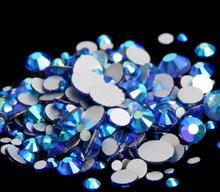 Sapphire AB Color ss3,ss4,ss5,ss6,ss8,ss10,ss12,ss16,ss20,ss30 Flat Back Crystal Non Hotfix Nail Art Glue On Rhinestones