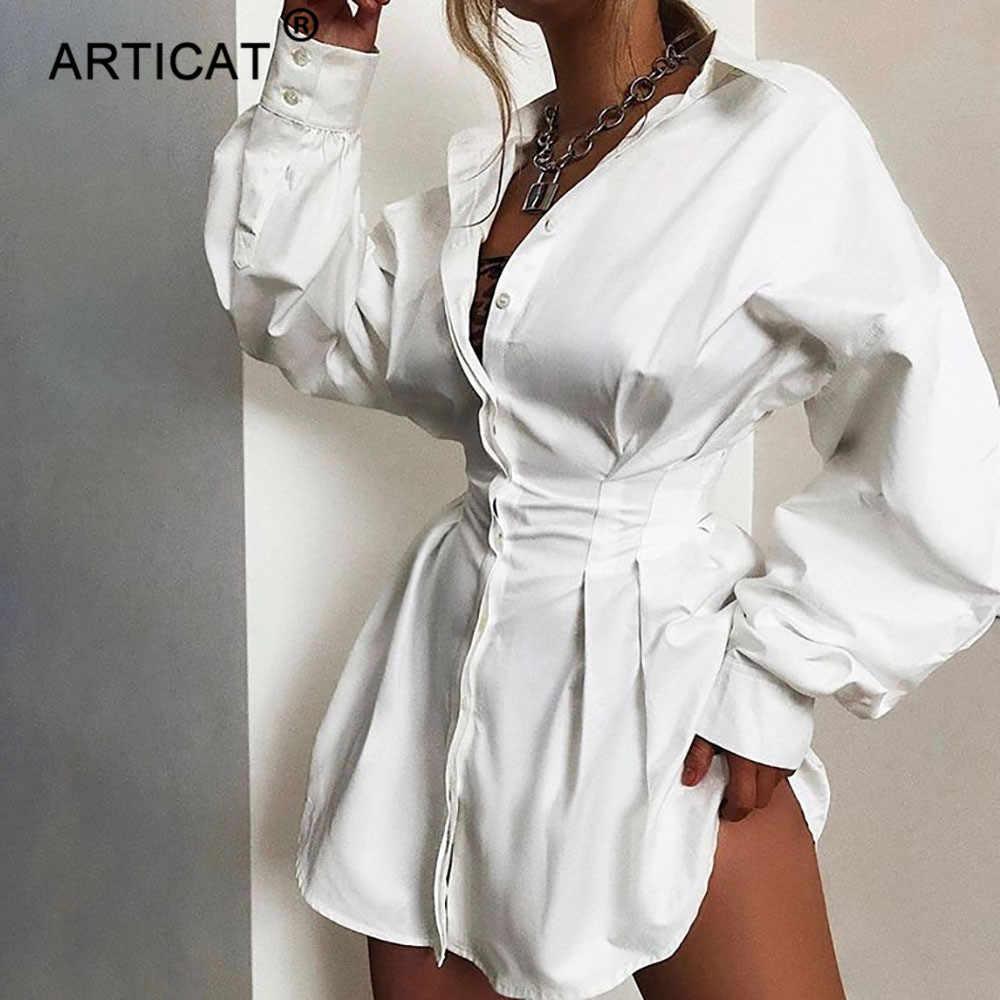 Женское однобортное платье-мини Articat, повседневное платье с рукавами-фонариками и отложным воротником, короткая рубашка, для вечеринок, белая
