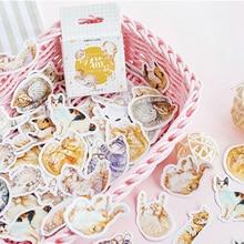 46pcs/lot  Kawaii Cartoon lazy cat Mini Paper Stickers Decoration DIY Scrapbooking Sticker Stationery cute label stickers