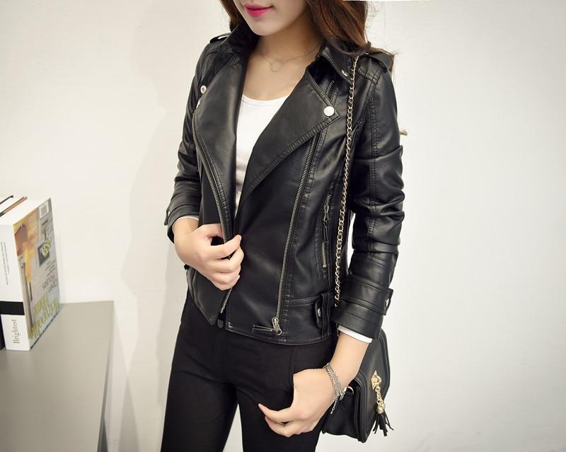 JUANTALK Women   Leather   Jacket Fashion Rivet Zipper Motorcycle Faux   Leather   Coat Female Paragraph Lapel Soft PU   Leather   Jacket