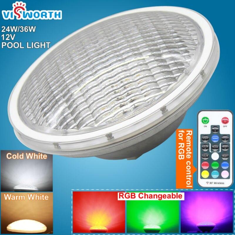 RGB LED Piscine Lumière SMD5730 24 W 36 W Lumière de Piscine 12 V Par56 LED Étang Lumière IP68 Étanche LED Sous-Marine Ampoule lampe