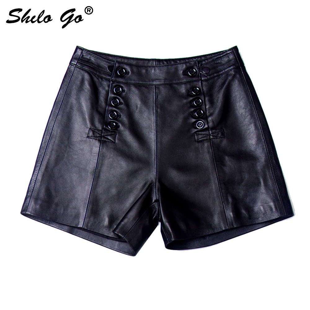 Leather Shorts Womens Autumn Fashion Sheepskin Genuine Leather Shorts Double Breasted High Waist Concise Wide Leg Shorts