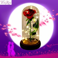 FENGRISE Eternal Red Rose in a Glass Dome on a Wooden Base Artificial Rose Decorative Flower for Wedding Party Decorations