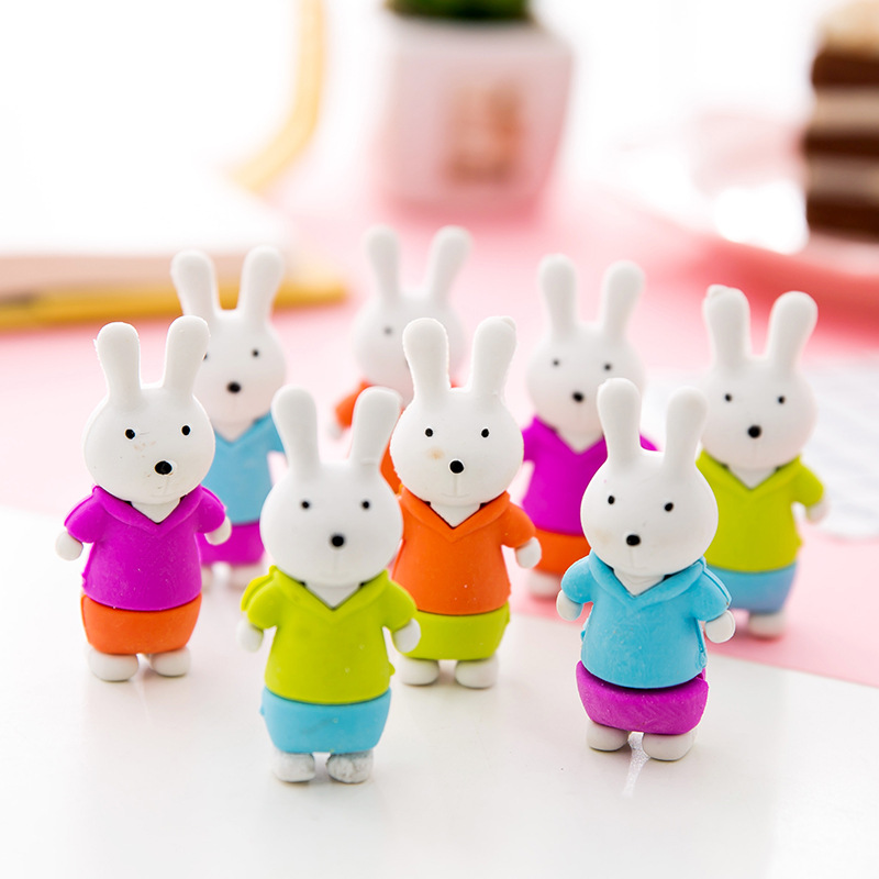 4pcs Creative Stationery Pencil Eraser Cute Animal Rabbit Rubber Eraser Student Prize Gifts For Kids School Office Supplies