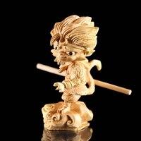 11cm legend Monkey king sculpture 11cm dragon ball statue Wood sun wukong figurines Decoration Zodiac ART statue