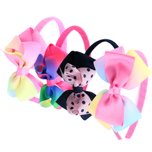 14pcs/lot DIY Rainbow Hair Bow Hairbands Plastic Grosgrain Ribbon Headband Girls Headdress Accessories Children Hair Ornaments
