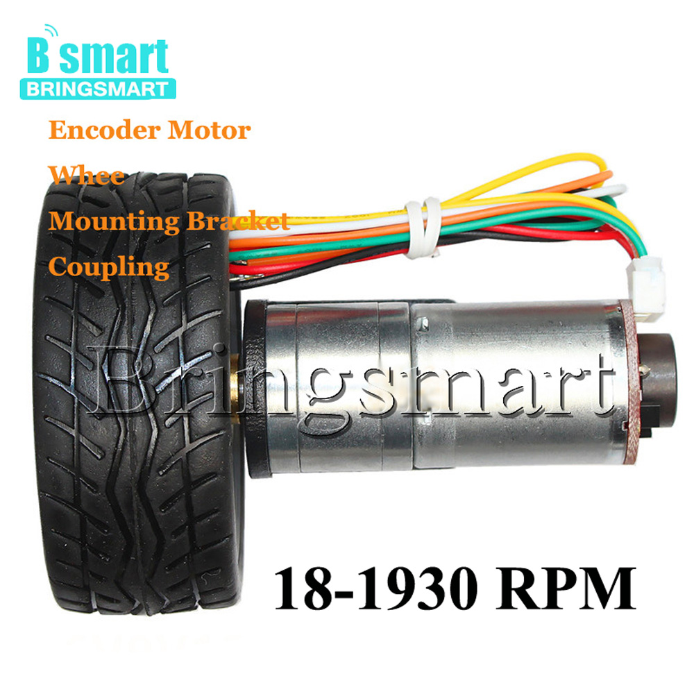 JGA25-371 Micro Gear Motor 18-1930RPM With Encoder Mounting Bracket Screw Brass Coupling And Motor Wheel For Toy Car DIY wholesale bringsmart 37mm diameter gear motor mounting bracket with screw shaft coupling for diy car use fixed motor bracket