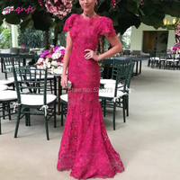 YNQNFS MD198 Elegant Cap Sleeve Lace Mother of the Bride Dresses Groom Outfits Fuchsia Party Gown Mermaid Custom Made 2019
