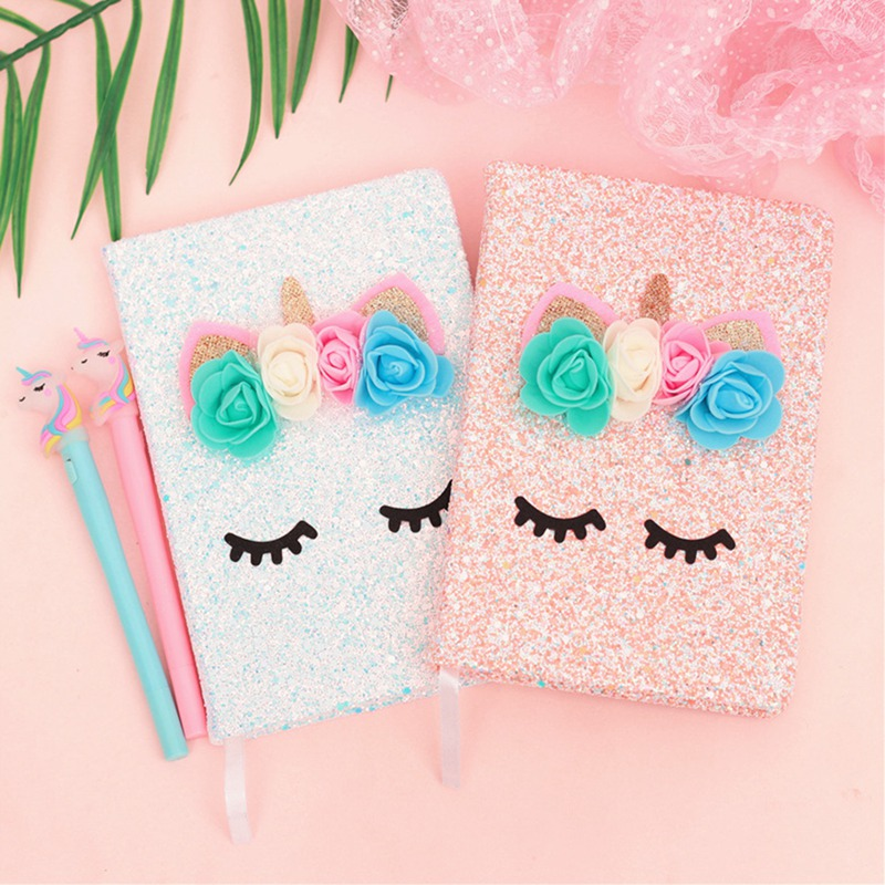 Colorful Glitter Powder Glitter Notebook Flower Fairy Unicorn Notebook Girl Heart With Light Gift Box Set