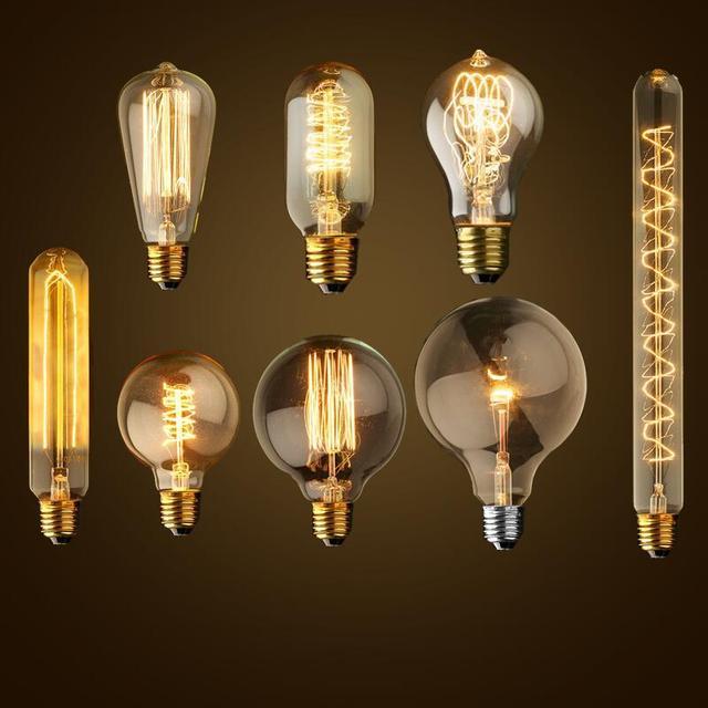 E27 40w Vintage Retro Filament Edison Tungsten Light Bulb: E27 Incandescent Bulbs Squirrel Cage Filament Light Bulb