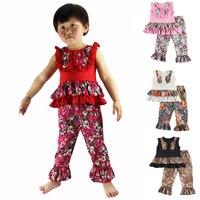 새로운 아이 옷 wennikids 소매 아기 소녀 어린이 의류 꽃 디자인 탱크 탑 셔츠 프릴 바지 세트 여자 세트