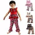 Nova roupa dos miúdos wennikids varejo do bebê da menina crianças roupas floral design tanque camisa top e calça plissado definir conjuntos de meninas