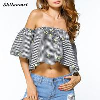Sexy Summer 2017 Elegant Plaid Black Off Shoulder Female Blouse Half Sleeve Shirt Girls Blouse Women