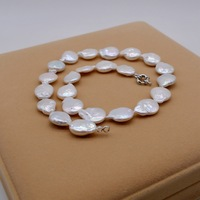 White Coin Shape Baroque Natural Freshwater Pearl Necklace, Baroque Style Necklace, Casual and Freestyle