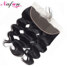 NAFUN Hair Malaysian Body Wave Lace Frontal Human Hair 13X4 Lace Closure Natural Color Non Remy Hair Closure Free Shipping(China)