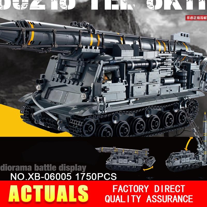 Xingbao 06005 Military Series 1750Pcs The 8U218 TEL 8K11 Set Building Blocks Bricks Children Educational Boy`s Toys Model Gifts 8 in 1 military ship building blocks toys for boys