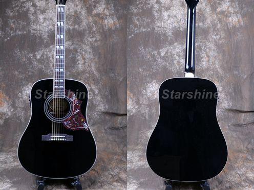 Starshine 6 cordes guitare acoustique ZZ-HMB Fishman 101 EQ, haut rigide, écrou d'os et selles ronflant oiseau Pickguard Grover Tuner