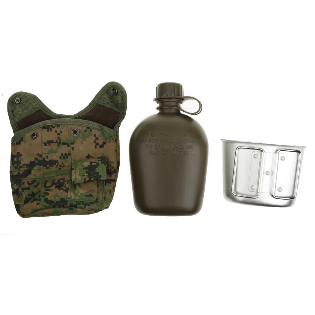 Открытый 1Л Военная походная армейская бутылка для воды с мешочком тактическая сумка для снаряжения для кемпинга походов выживания аксессуары для альпинизма