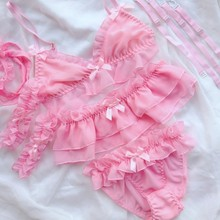 Lilicochan Womens Sexy Cosplay Lingerie Set Ruffle Baby Doll Teddy Outfit Bra An Pantie Nightie With Choker