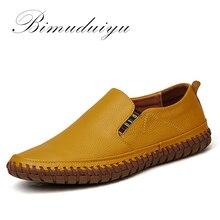 BIMUDUIYU Горячие Продажи Ручной Работы Высокого Качества Натуральная Кожа Мужчины Квартиры Дышащие Причинные Обувь Скольжения на Бизнес Ленивые Вождения Обувь