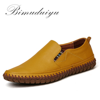 BIMUDUIYU Hot Sale Handmade High Quality Genuine Leather Men Flats Breathable Causal Shoes Slip On Business