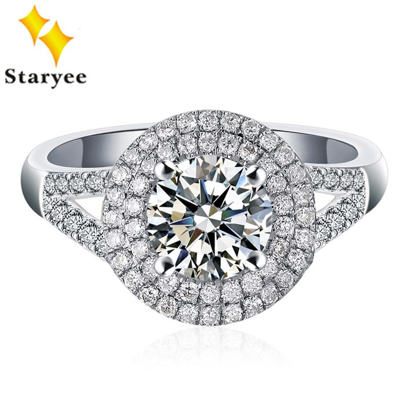Luxury 18K Real White Gold Certified 0.5 CT D E F color Forever One Moissanite Diamond Halo Engagement Rings For Women Wedding