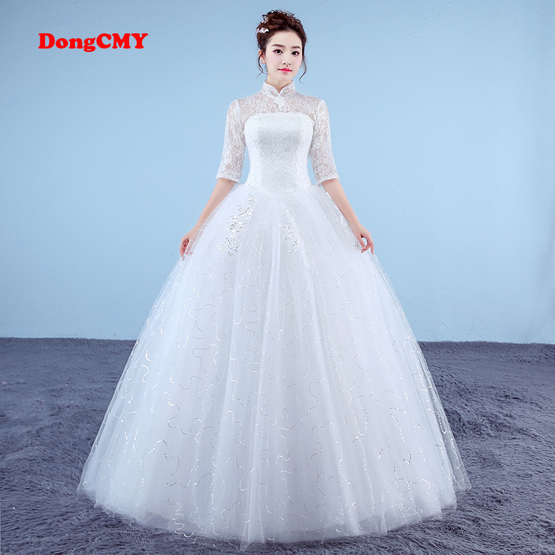DongCMY Fashion Half sleeve 2017 new arrival long white color High collar dress Ball Gown bandage wedding dress