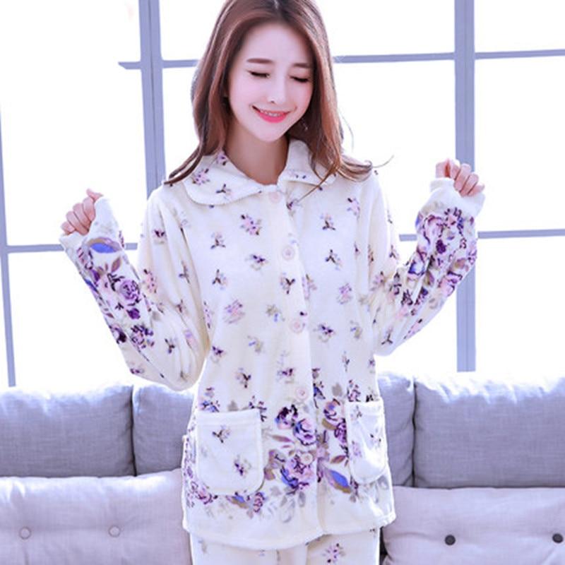 2a54e83612 Las mujeres de invierno gruesa conjuntos de pijamas de franela de manga  larga cálido traje de mujer ropa de dormir otoño Homewear traje de pijama  ropa de ...