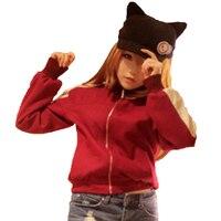 Neon Genesis Evangelion EVA אסוקה לנגלי סוריא חתול כובע Cosplay תלבושות הסווטשרט של מעיל מעיל + כובע