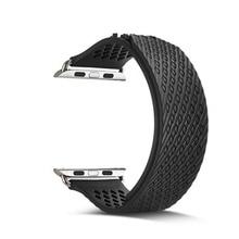 все цены на silicone Sport band For Apple Watch 5 4 3 40mm/44mm iwatch series 5 4 3 2 1 42mm 38mm weave rubbers strap wrist bracelet belt онлайн
