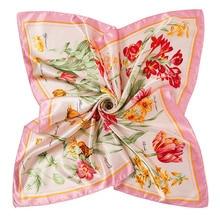 Elegant Ladies Flower Silk Scarf New Fashion Printed Scarves