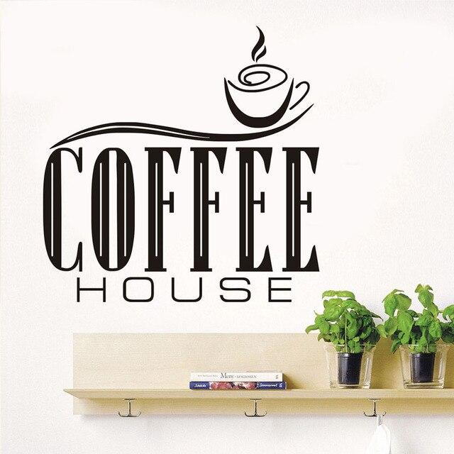 US $7.68 19% OFF|Kaffee Haus Zitate Wandaufkleber Diy Entfernbare  Niedlichen Kaffeetasse Tapete Küche Restaurant Vinyl Wandtattoos  Kostenloser Versand ...