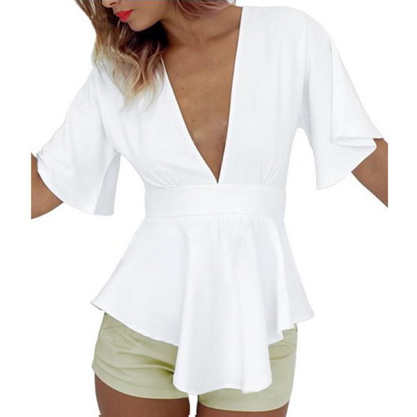 Sexy Women Deep V Neck White Blause Shirts Fashion Female Short Sleeve Peplum Blouse Oversized Blusas Mujder