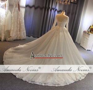 Image 5 - 2019 gelinlik abito da sposa maniche lunghe con il pieno di cristallo abito da sposa reale di lavoro