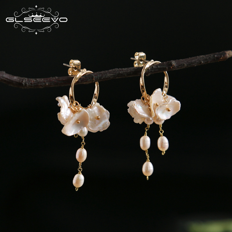 GLSEEVO Natural Fresh Water Baroque Pearl Boho Dangle Earrings For Women Party Gifts Wedding Long Tassel Earring Jewelry GE0545 best lady special design bohemian wedding natural fresh water pearls earring women fashion dangle jewelry multi color earrings