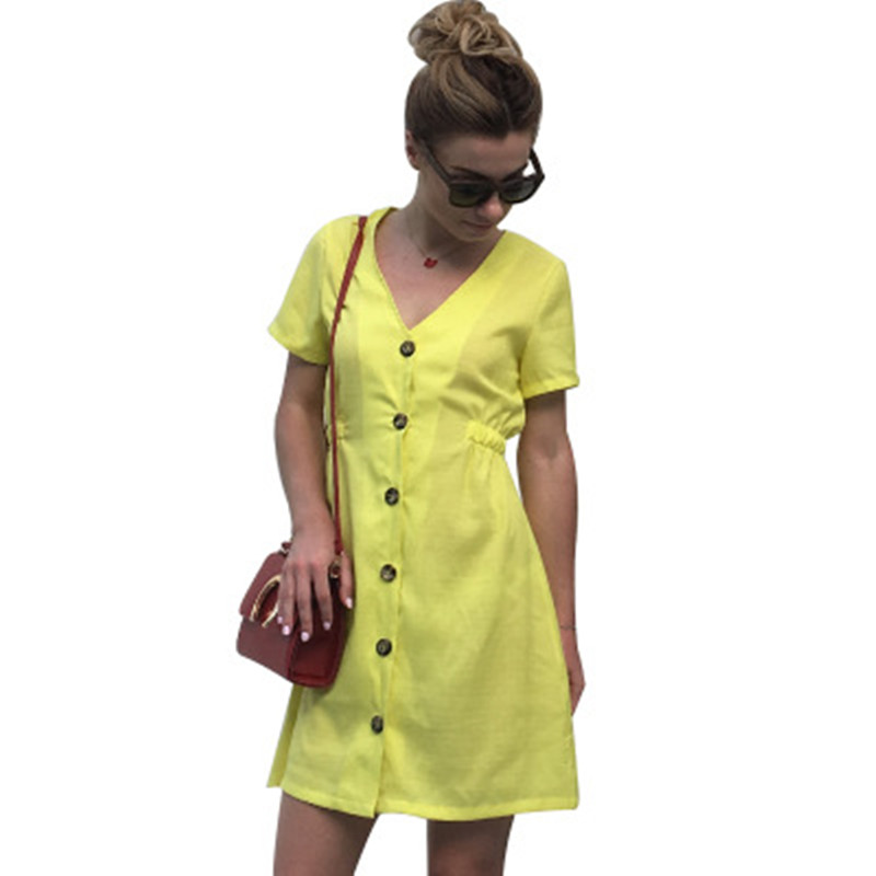 2018 Summer Dress Women Office Dress Elegant V neck Vestidos Casual Dresses Solid Color A line Ladies Mini vestidos