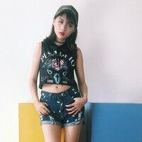 2017 Summer New Harajuku Letters Printed Rose Pattern Hooded Sleeveless T Shirt Women T Shirts Tops