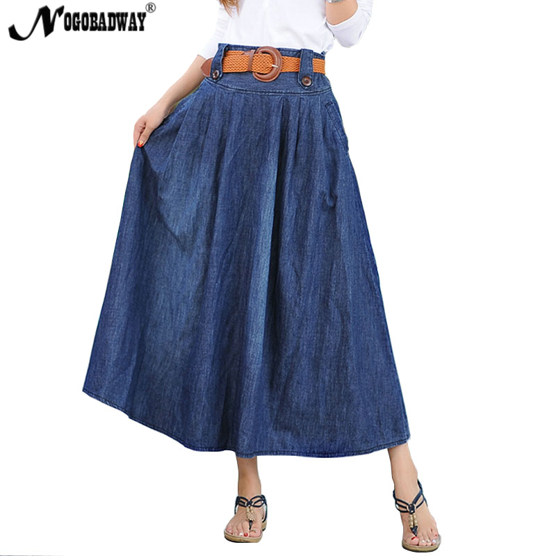 Able S - 6xl Plus Size Denim Long Skirt Women High Waist Jeans Skirt Summer Maxi Skirts Pleated Casual Vintage Bottom Saia Pocket New