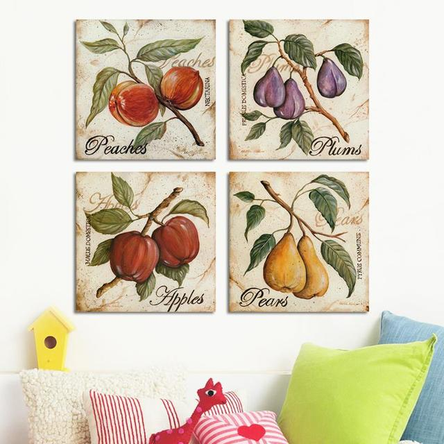 4PCS Fruits Wall Painting Cuadros Home Decor Impressionist Peaches Plums  Apples Pears Canvas Paintings Diningroom Art