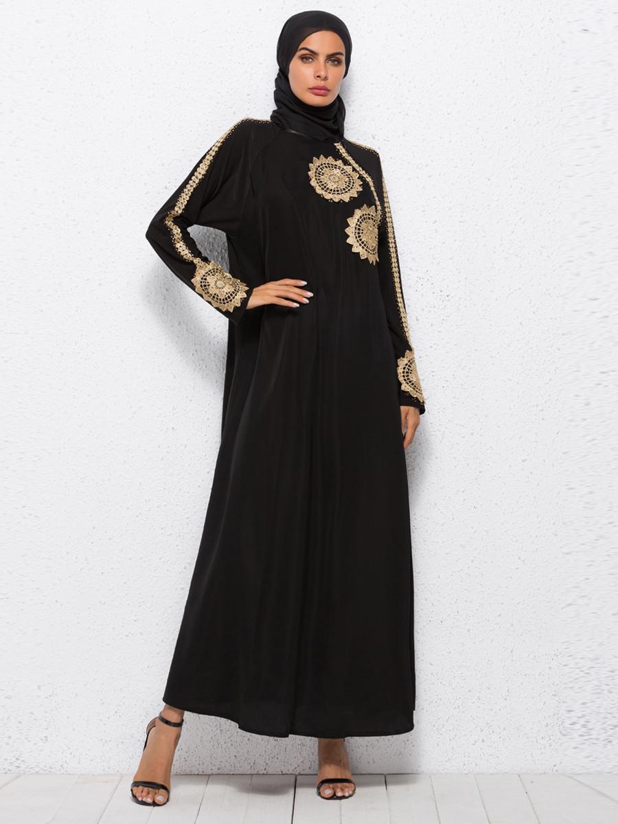 Dubai Muslim Women Abaya Long Sleeve Dress Jilbab Vintage Kaftan Islam Arab Robes