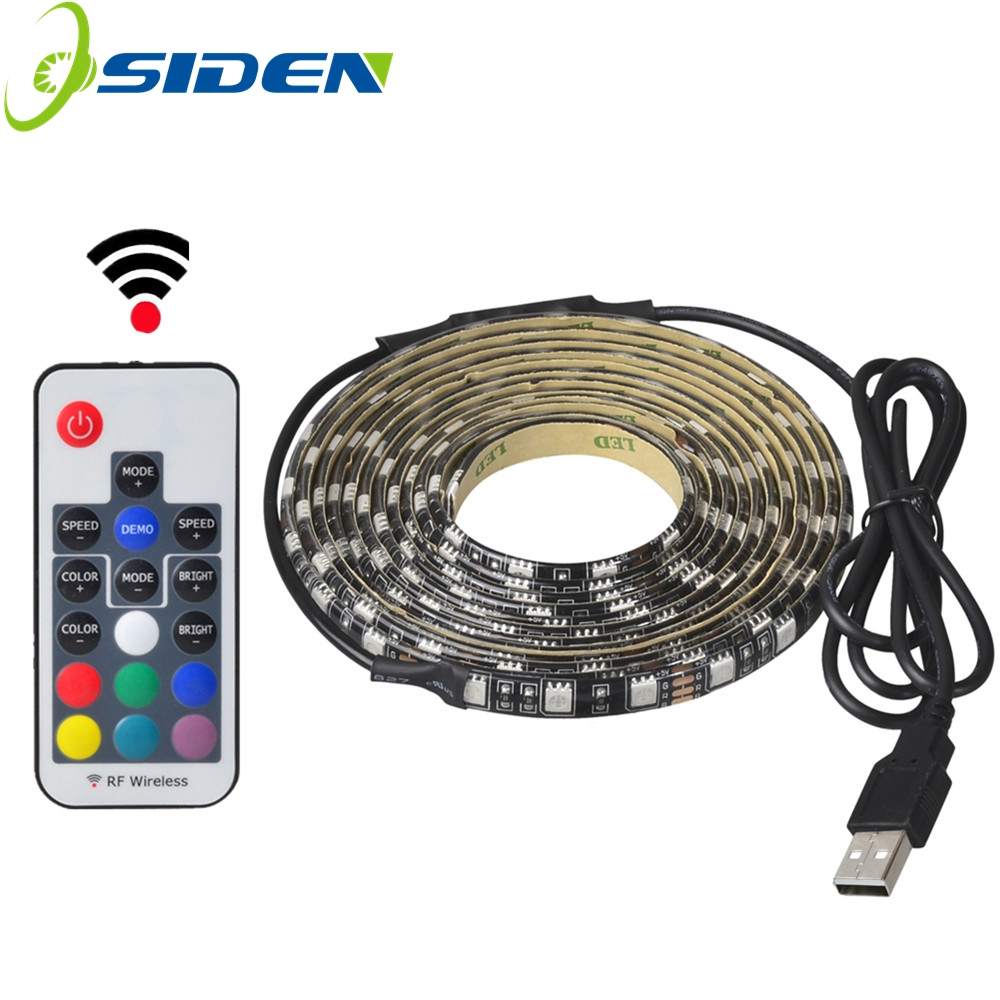 USB 5V 5050 RGB Strip light 60led 1m 2m mini IR 24key RF 17key controller black PCB IP65 ...