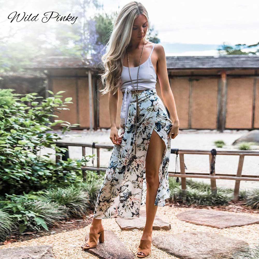 WildPinky 2019 Boho Summer Style Print Skirts Women High Waist Long Skirts Vintage Elegant Split Floral Print Beach Skirt Female