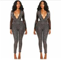 Fashion Long Sleeves V neck Backless Costume Jumpsuit Women's Bar Party Celebrate Outfit DS DJ Singer Dance Leggings Outfit