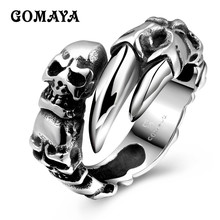 GOMAYA Skull Claws Rings Cool Black Vintage Skeleton Biker Musician Punk Ring for Women and Men Hip hop Rock Titanium Steel