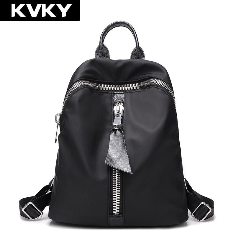 KVKY 2017 Vintage Women Nylon Backpacks Student School Bags For Teenagers Girls Shoulder Bag Travel Bagpack