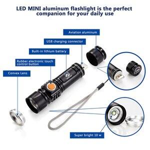 Image 3 - Mạnh Mẽ Đèn LED Với Đuôi Sạc USB Đầu Phóng To Đèn Pin Chống Nước Di Động Ánh Sáng 3 Chế Độ Chiếu Sáng Được Xây Dựng Trong Pin